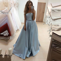 Sexy Strapless Satin Prom Party Dresses Long Formal Evening Gowns Floor Length Prom Gowns 2019 vestidos de gala