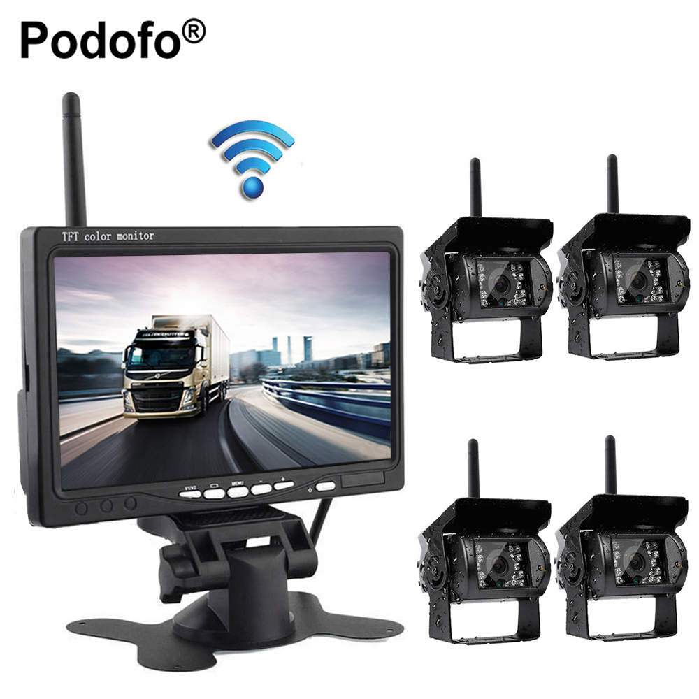 Podofo Wireless 4 Backup Cameras System, 7 Car Rear View Monitor for RV/Truck/Trailer/Tractor/Semi Trailer Parking Assistance