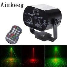 Aimkeeg Mini USB Charge DJ Disco Light Strobe Party Stage Lighting Effect Voice Control Laser Projector Light for Dance Floor