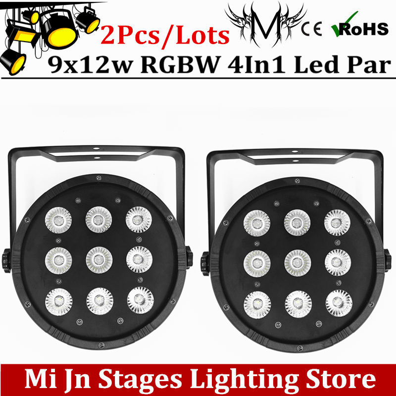 Free Shipping 2pcs  9x12W Flat LED Par Lights, 9*12w RGBW 4IN1 PAR DMX512 control disco lights professional stage DJ equipment