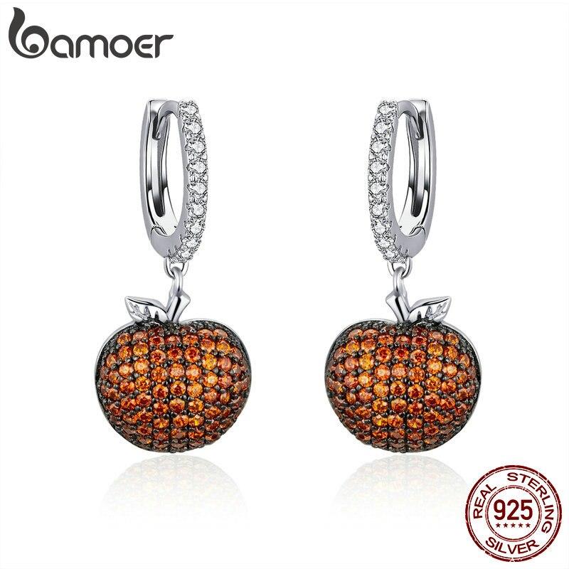 BAMOER Genuine 925 Sterling Silver Small Apples Drop Earrings for Women Orange CZ Zirconia Fashion Jewelry Making SCE523-in Drop Earrings from Jewelry & Accessories