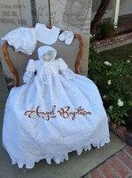 Elegant bé mới trẻ sơ sinh Christening Gown Phép Rửa ăn mặc áo choàng ngắn tay áo ren đính trắng/Ngà miễn phí vận chuyển