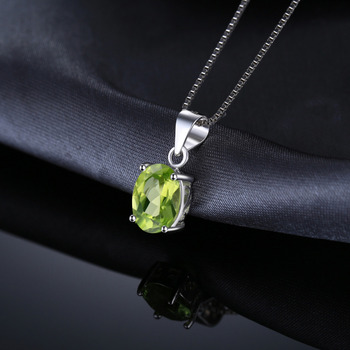 Natural lime Green Pendant Necklace Sterling Silver Gemstones Statement Necklace  2