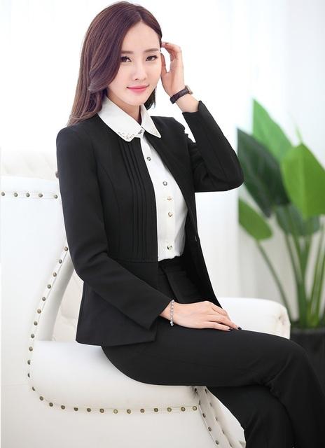 Novo 2015 Moda Slim Business Professional Women Ternos Jaquetas E Calças Calças Pantsuits Define Styles Uniformes Outono Inverno