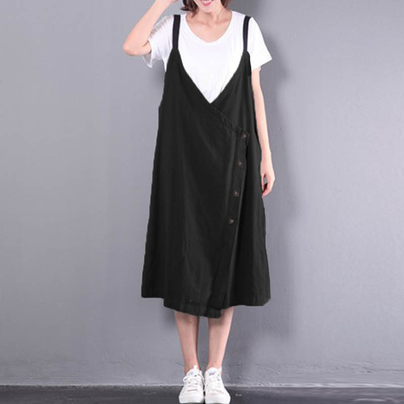 2018 CELMIA Strappy Low Cup V Neck Solid Buttons Backless Baggy Dungarees Dress Casual Vintage Cotton Linen Sleeveless Vestido