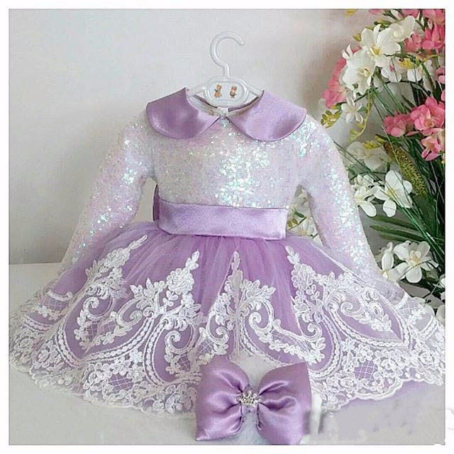 eefb24d58 2018 Baby Girl Dress Baptism Dresses Lace Sequin 1st year birthday ...