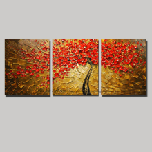 Modern 3 panel flower acrylic oil knife painting floral hand painted oil painting red tree on cnavas wall pictures for bedroom