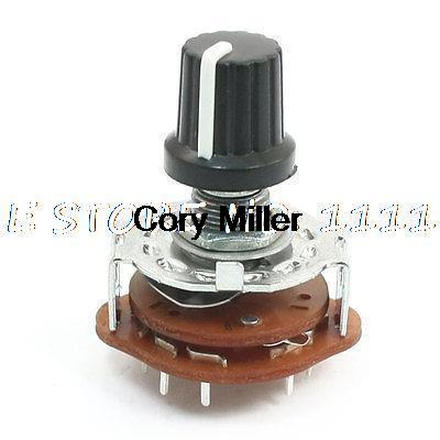 6mm Shaft 2 Pole 5 Position 2P5T Band Channel Selector Rotary Switch uxcell kct 3x11 3 pole 11 position ceramic band channel rotary switch selector w knob