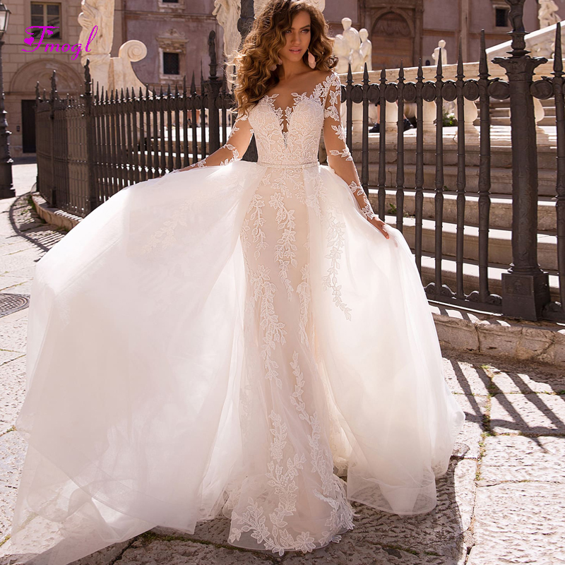 Trumpet Wedding Gowns With Sleeves: Appliques Long Sleeves Detachable Train Mermaid Wedding