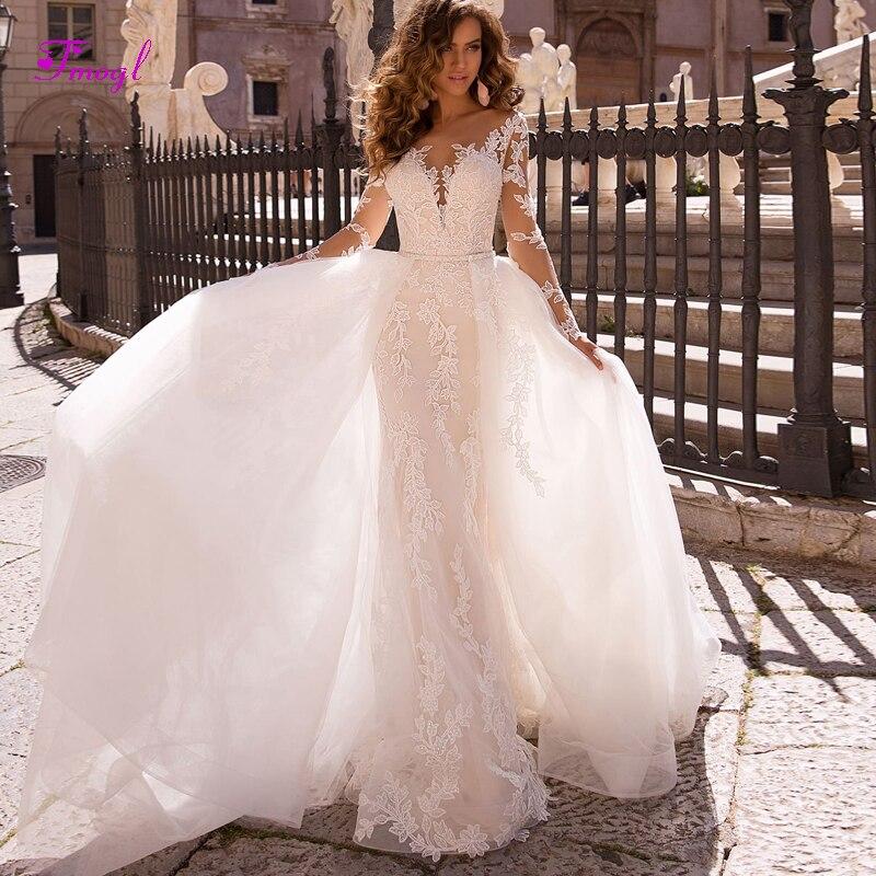 Trumpet Wedding Dresses 2019: Appliques Long Sleeves Detachable Train Mermaid Wedding
