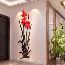 цены Creative tulip Acrylic 3d stereoscopic wall stickers living room bedroom home decorative sticker restaurant entrance hallway