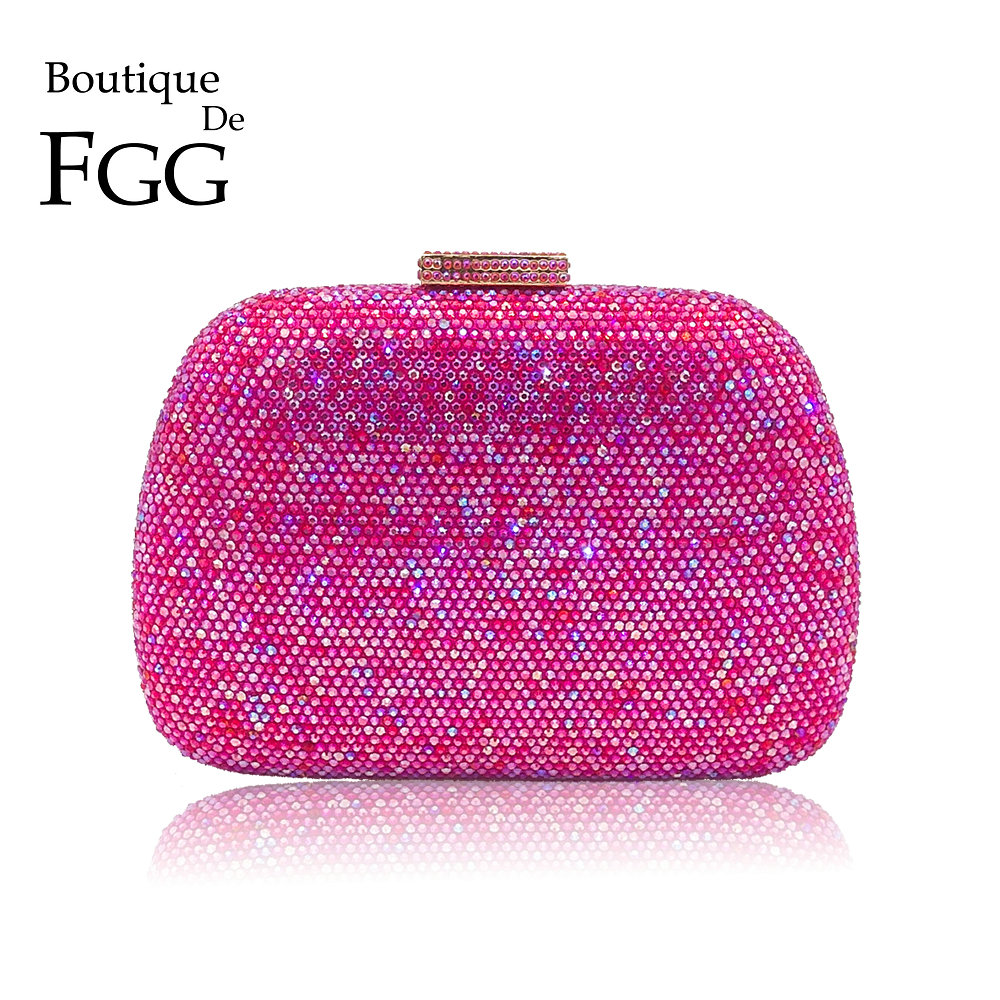 Boutique De FGG Dazzling Hot Pink Diamond Evening Bags Wedding Cocktail Prom Handbag and Purse Women