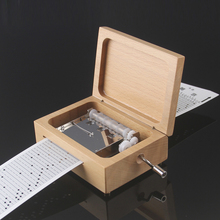 Yunsheng sk5 plate 30 diy hand crank paper tape music box beech wood carving music box diy Christmas birthday new year gifts