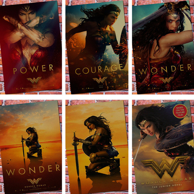 Vintage Wonder Woman Superhero Movie Poster Retro Kraft Paper Bar Home Decor Painting Wall Sticker Wallpaper
