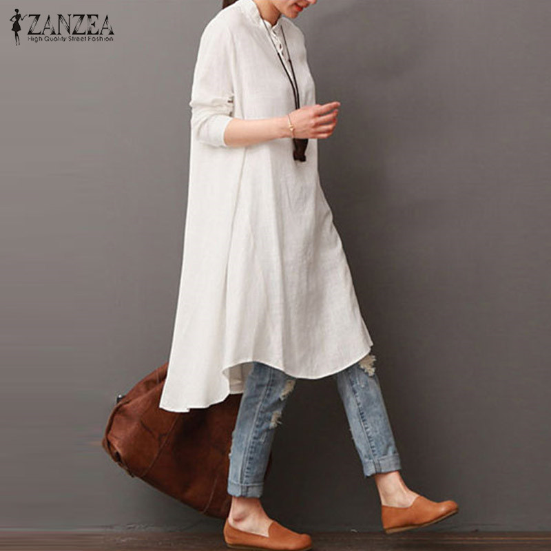 2018 ZANZEA Women Vintage Long Sleeve Buttons Waterfall Hem Cotton Linen Vestido Workwear Long Shirt Dress Robe M-5XL Oversized