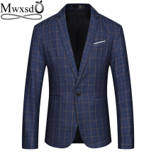 Mwxsd brand men casual Blazer mens cotton suit Jacket slim fit blazer