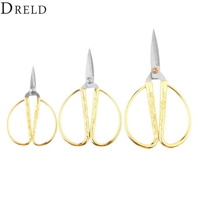 Dreld 1pc Gold Sewing Scissors Short Cutter Steel Vintage Tailor