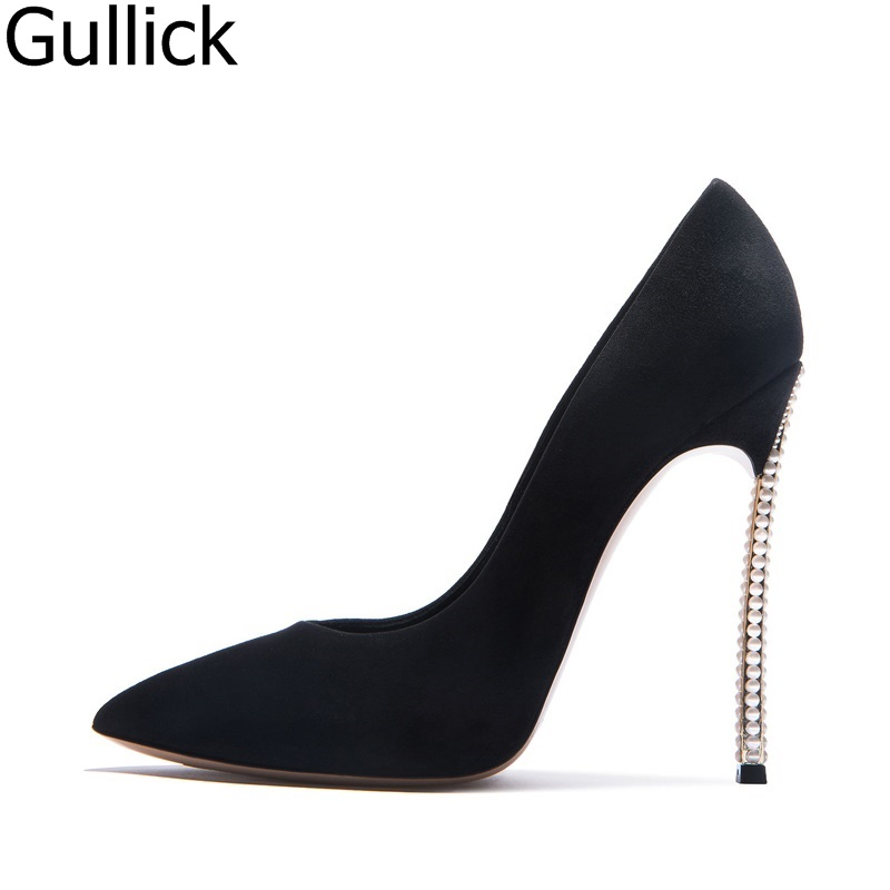 Hot Selling Women Black Flock Leather Pointed Toe Pumps Summer Sexy Slip On Pearls Heel Shoes High Thin Heel Dress Shoes