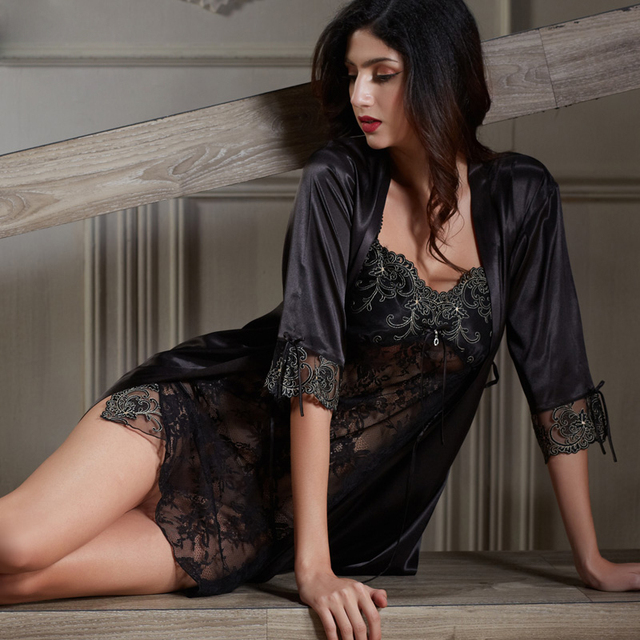 XIFENNI Satin Silk Bathrobes Female Two-Piece Sleepwear Sexy Black Lace Nightgowns Imitation Silk Robes Women Nightdress 6628