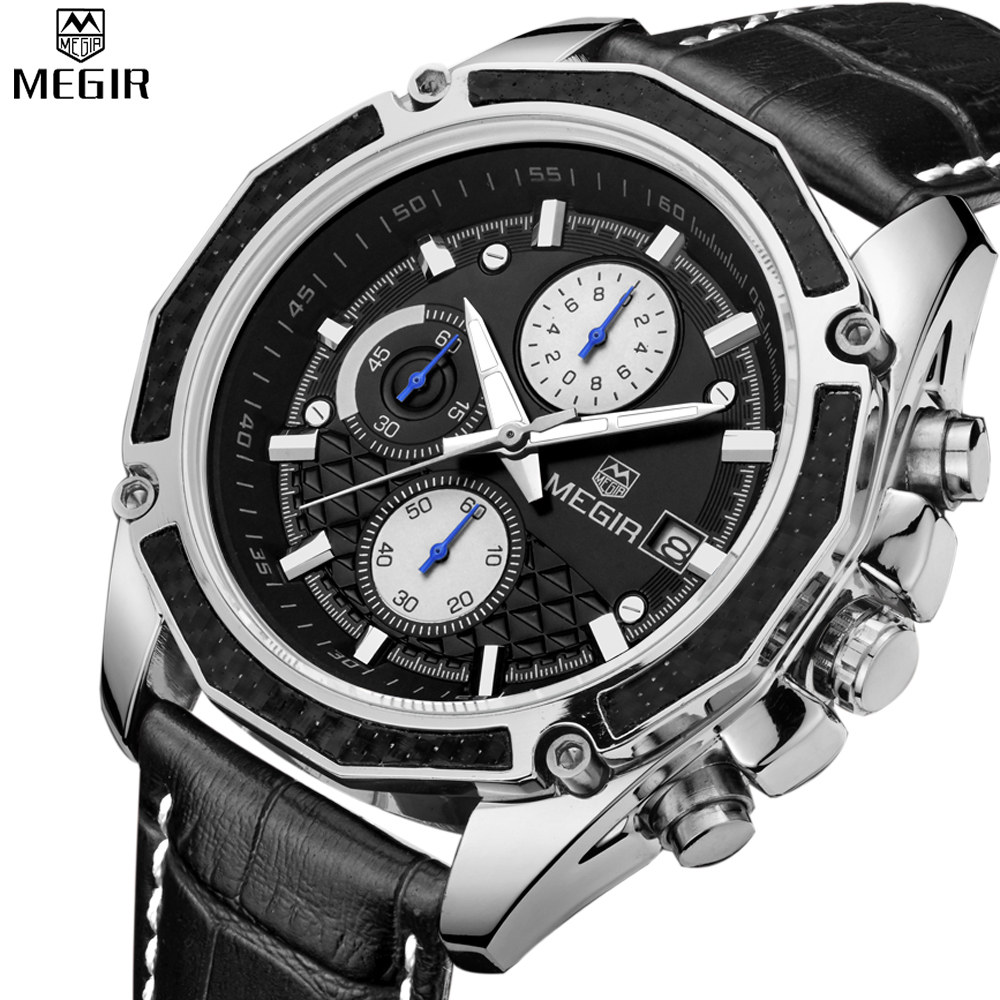 2016 New MEGIR Climbing Chronograph Men s Watch Fashion Casual luminous engraved wrist watch mens watches