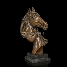 Good Design Best  Selling 100% Antique Brass Statue Horse Heads Figurines For Home DecorationCZW-009