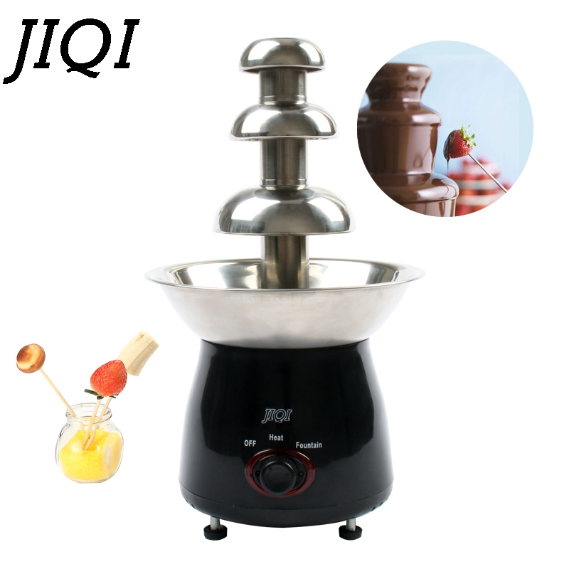 JIQI Mini Triple Chocolate Fountain Fondue Event Wedding Children Birthday Home Christmas Waterfall Machine цена