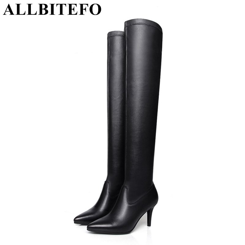 ALLBITEFO genuine leather+pu pointed toe thin heel women boots fashion sexy high heels over the knee boots winter boots woman fashion slim rivets thick heel pointed toe zip winter snow boots genuine leather stretch fabric over the knee boots women boots