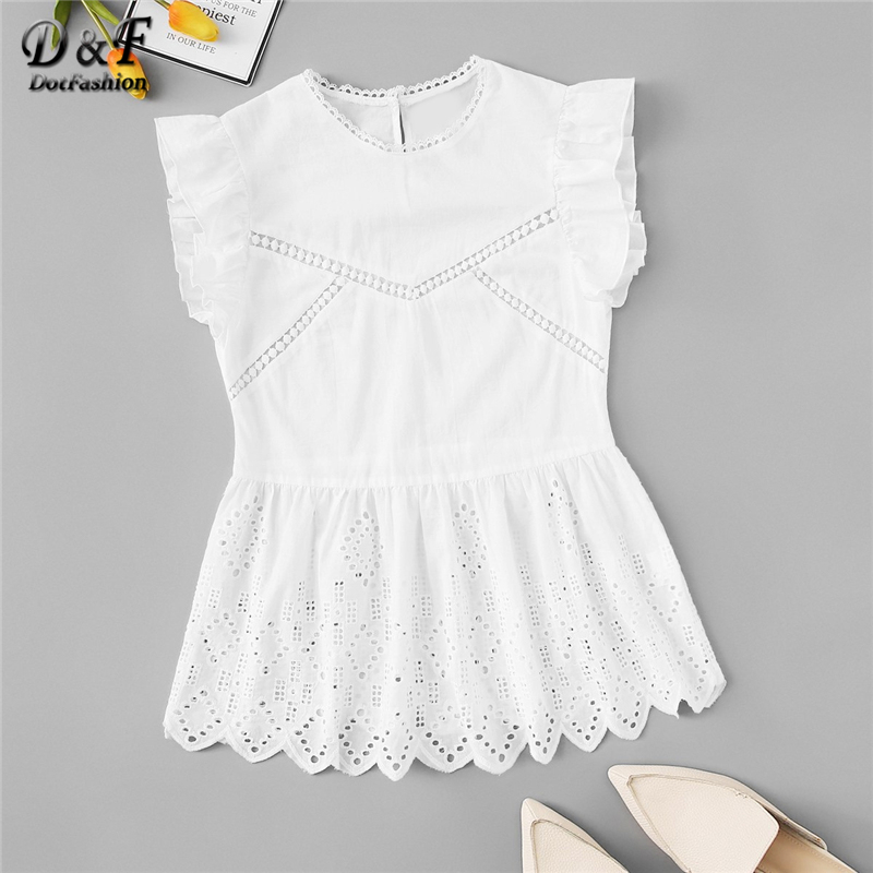 Dotfashion White Ruffle Scallop Cut Out Peplum Blouse Women Summer 2019 Cute Korean Fashion Clothing Womens Tops And Blouses(China)
