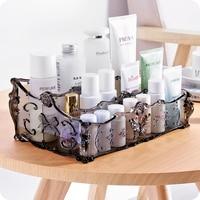 AILA 3 Grids Nordic European Style Makeup Storage Box Dressing Table Plastic Storage Box Cosmetic Organizer Sundry Storage Case