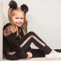 Velvet Angel Wings Pattern Girl Tracksuits Costume Solid Pink Black Color Mother Daughter Clothes Set Boutique Family Clothing