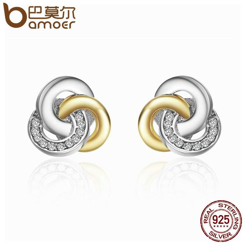 BAMOER Genuine 925 Sterling Silver Interlinked Circles, Dazzling CZ Geometric Stud Earrings for Women Fine Jewelry Bijoux PAS511