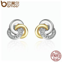 BAMOER Genuine 925 Sterling Silver Interlinked Circles Dazzling CZ Geometric Stud Earrings For Women Fine Jewelry