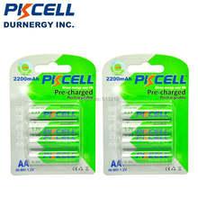 8 шт/2 карты pkcell 12 v aa Аккумуляторная батарея ni mh 2200mah