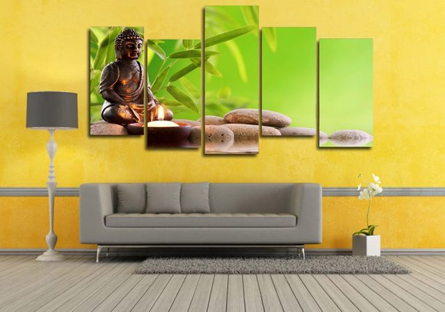 Online Shop 5 Pcs/Set Framed HD Printed Buddhist Bamboo Art Picture ...
