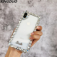 XINGDUO Case For IPhone 6 6s 7 8 Plus Crystal Diamond Grain White Transparent Iphone X XS Max XR Soft TPU Mobile Phone shell