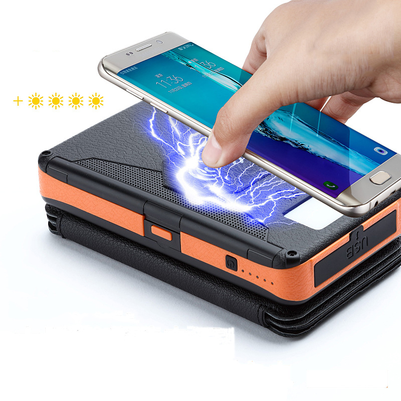 Outdoor <font><b>Solar</b></font> <font><b>Power</b></font> <font><b>Bank</b></font> <font><b>20000mAh</b></font> Folding Waterproof Qi Wireless <font><b>Solar</b></font> Charger <font><b>External</b></font> <font><b>Battery</b></font> Pack with LED Light for Phones image