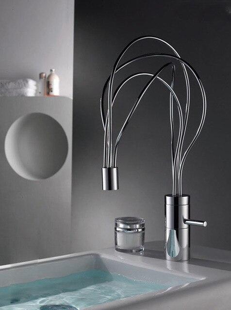 Nest Design Warmen Und Kalten Wasserhahn Badezimmer Basin Wasserhahn Chrom  Fertig Massivem Messing Mischbatterie Einhand Deck