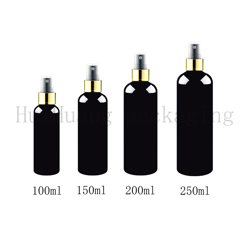 30PCS 100 150 200 250ml fine mist gold collar spray black plastic bottle sprayer plastic bottles
