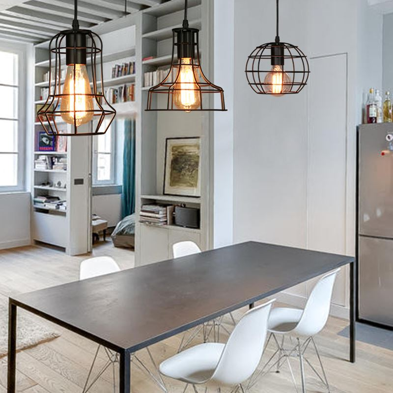 metal kitchen island murphy table antique wrought iron pendant lights industrial mini lighting fixtures vintage black office led ceiling lamp in from