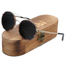 Ablibi Women's Round Bamboo Wood Handmade Sunglasses Men Vintage Lennon Oval Steampunk Sun Glasses in Wood Case
