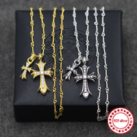 S925 Sterling Silver Necklace Pendant Plated 24k Gold Inlaid Otolith Cross Distorted Clavicle Necklace Crucifer Styling