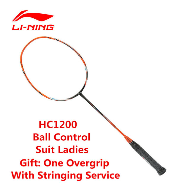 Li-Ning Amateur Junior Badminton Racket HC1200 Li Ning Carbon Fiber Racquet Sports AYPK092 With Free Overgrip raquette/raket