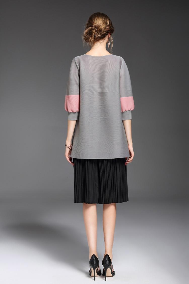Mode cou Lâche Plissé Moyen Vêtements Femmes Livraison Fold Chemises Gratuite Noir D'o Perles Poche Top long T De 3d shirt bleu rC5rEqw