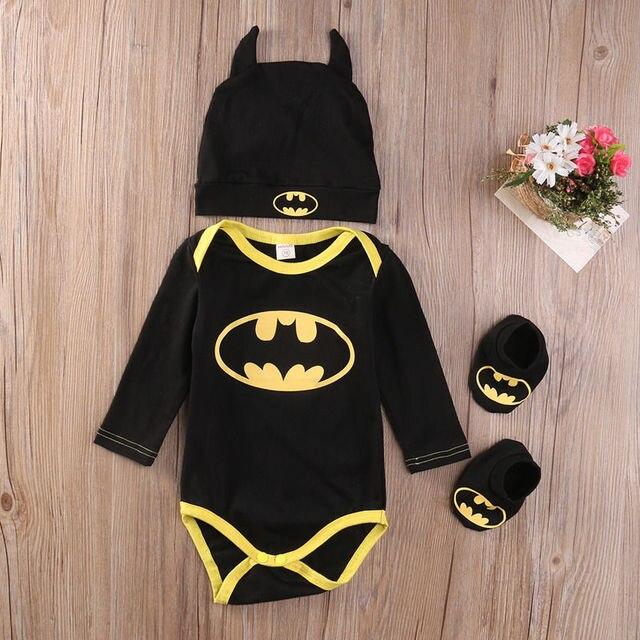 2018 Mulititrust Brand baby Boys clothes Set  Cool Batman Newborn Infant Baby Boys Romper+Shoes+Hat 3pcs Outfits Set Clothes