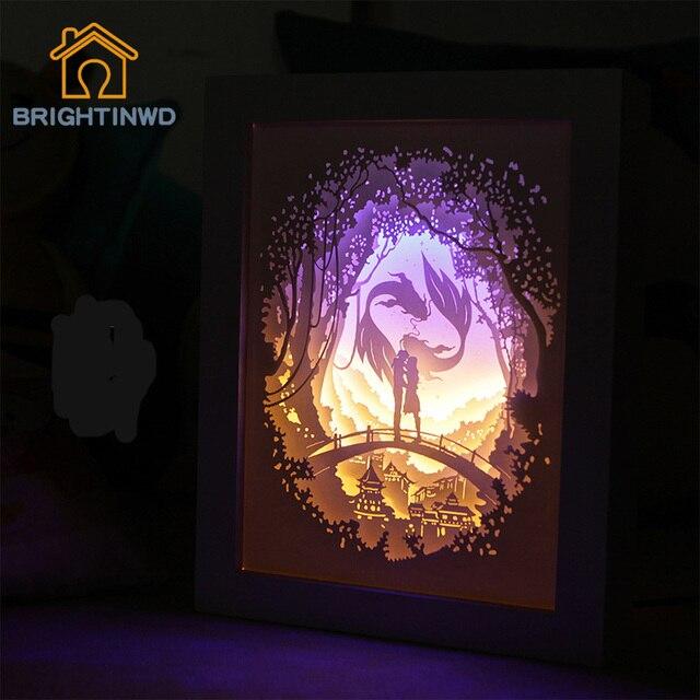 Brightinwdライトシャドウ紙ランプ 3D夜の光魚座恋人ベッドサイド装飾テーブルランプ