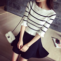 2015 Fashion Spring Women Stripes Print Half Sleeve Sweater Pullovers CONTRAST COLOR Printed Knitted Sweater