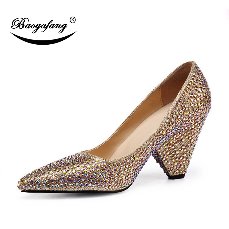 BaoYaFang 2018 New Arrival Strange Heel Women shoes Summer New hot drill  Golden wedding shoes Pointed Toe Med Heel Pumps thick 1adc5091ea4b