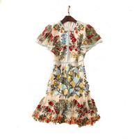 Summer Princess Dress Long Short Sleeve Waist Temperament Dress Round Neck Heavy Mesh Embroidery
