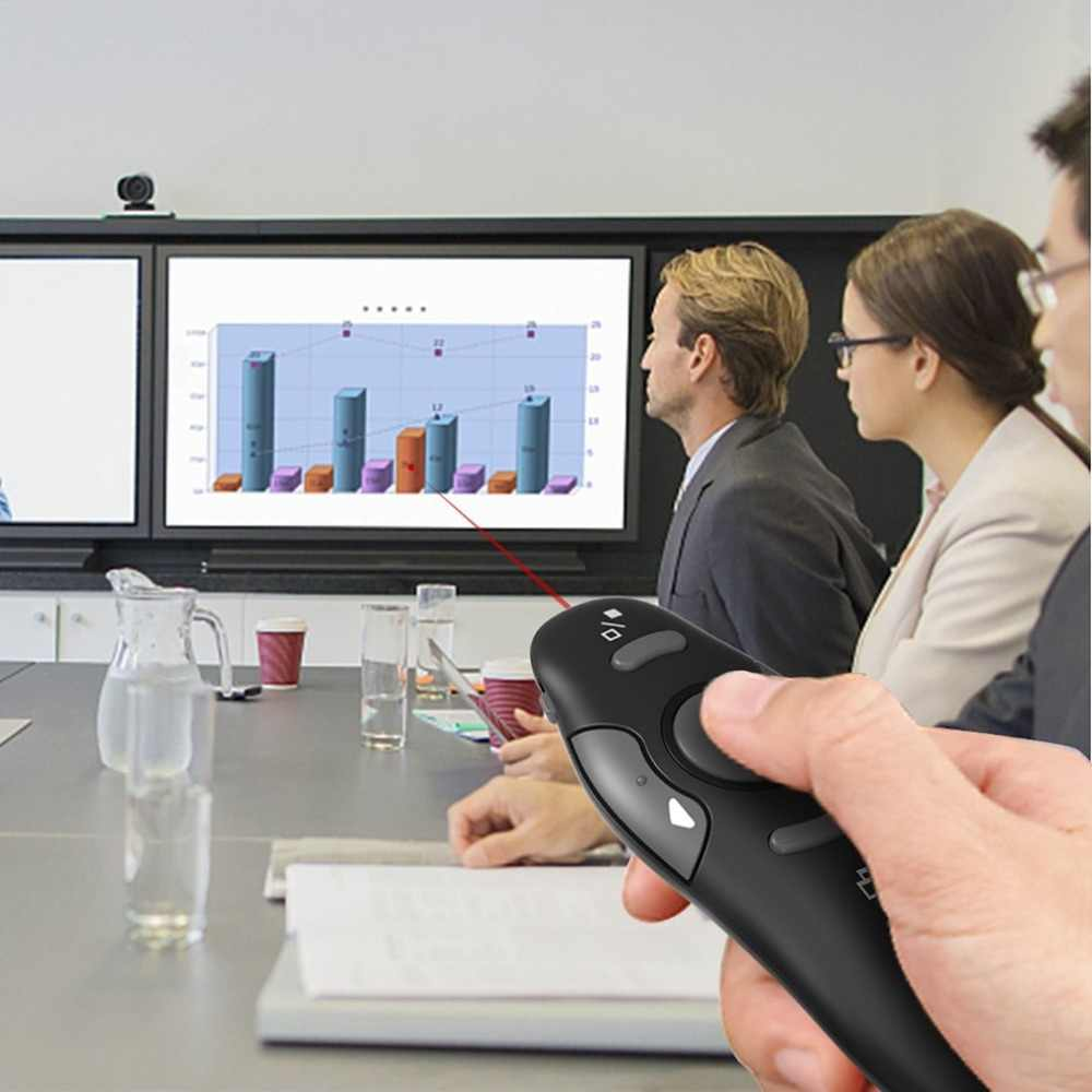 2.4GHz אלחוטי נייד USB PowerPoint מגיש RF שלט רחוק אדום מצביע לייזר עט דף למעלה ולמטה פונקציה 10m Distanc