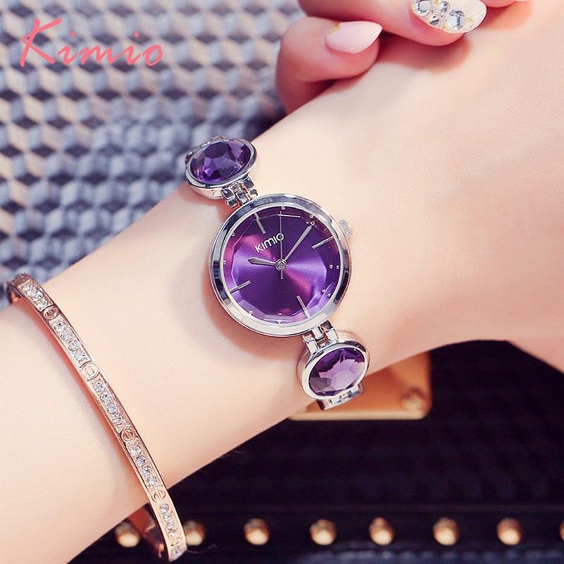 KIMIO Brand Simiple Woman Quartz Watches Luxury Ladies Crystal Black Big Gem Bra